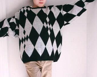 Vintage black and white sweater abstract geometric ladies medium