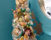 Darling Vintage Items Easter Bonnet Girl in Yellow Bottle Brush Tree Decoration