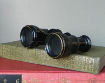 Vintage French Lemaire opera glasses binoculars leather covered theatre steampunk decor