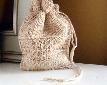 Knit Rune Bag.  Tapestry in vellum. rich blend of silk and linen