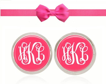 Monogram Earrings, Personalized Gift, Preppy Jewelry, Monogram Gift, Sorority Gift, (White On Pinkish Coral)