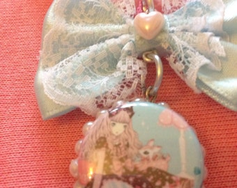 Sweet Lolita Double Character Pendant Lace Bow Pastel Pink Pearl Necklace
