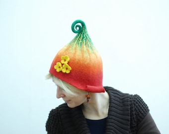 Felted gnome hat with three flowers from Merino wool MADE TO ORDER custom colors any sizes