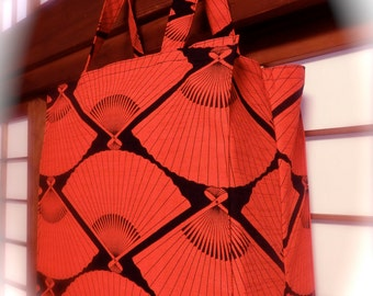 Red Fan Tote Bag, Graphic Japanese Fans in Red and Black TIGHT 'N' TIDY Tote Bag, Reusable Shopping Bag, Compact Folding Eco Bag, Bright Red