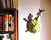 Planet mobile, Mobile ornament, Green Planet with a cat. Room Decoration Kids, Nursery decor
