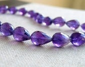 Amethyst Gemstone Faceted 3D Tear drop Briolette 10 to 10.5mm 8 beads
