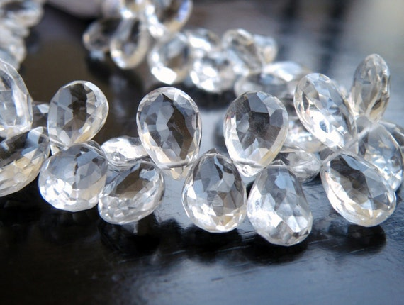 Quartz Gemstone Briolette Rock Crystal Faceted Pear TearDrop 9 to 10.5mm 22 beads