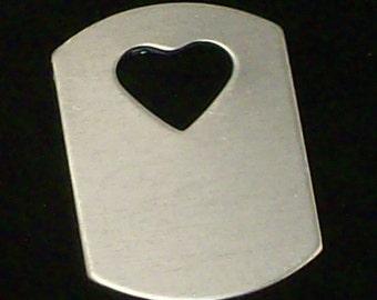 "Aluminum Dog Tags w/ 1/2"" Heart Cut Out - 1"" x  1 1/2"" x 18 Gauge - Qty 3"