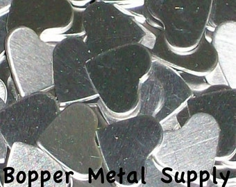 Aluminum Hearts, stamping blanks, metal blanks, heart cut-outs, hypo-allergenic blanks, food safe blanks, stamping shape blanks