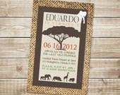 DIGITAL Sophisticated Safari Poster Invitation with Burlap in Brown, Green, Orange - Birthday, Shower, Party