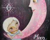 "Original Painting mixed media 9x12"" Moon Magic Oddimagination"