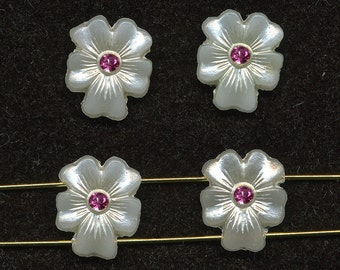 Vintage Nailhead Beads Pearlized Flowers 2 Hole 13mm x 11mm w/ Rose Crystal Center