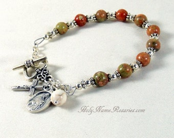 St Therese Rosary Bracelet Chaplet Miraculous Medal Mother of Sorrows Holy Family Nativity Autumn Jasper Options Green Peach Girls Size