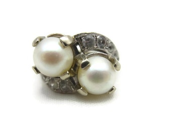 Art Deco Ring - 14k White Gold Pearl Ring, Bypass, Statement Ring, Estate Jewelry, White Topaz