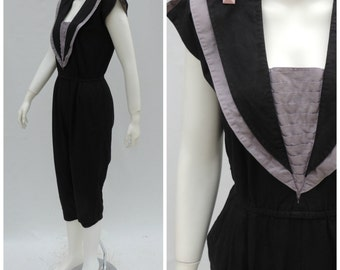 Vintage Jumpsuit  //  Vtg 80s FOXY LADY New Wave Black and Gray Cotton Nautical Cropped Coveralls Playsuit Romper  //   xs/s