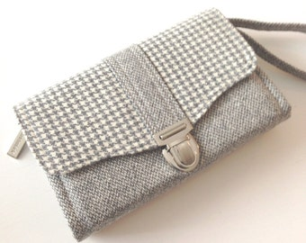 Smartphone iPhone Large Deluxe Clutch Wallet made from recycled/upcycled wool  # 29