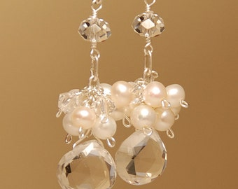Crystal Quartz Earring with Freshwater Pearls, Bridal Earrings, Clear Gemstone, Pearl, Swarovski Crystals in Sterling Silver, Semi Precious