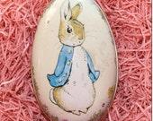 England Metal Easter Egg Box Peter Rabbit 4 1/4 Inch Nostalgic Craft Storage