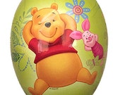 Made In Germany Papier Paper Mache Easter Egg Box Winnie The Pooh & Piglet 4.5 Inch  Green