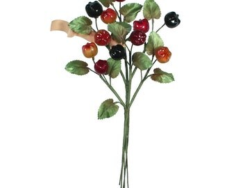 Vintage Millinery Glass Fruit Spray Berries Made In Germany Circa 1950s VTG 009 MX
