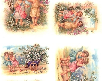 Italy Rice Paper Decoupage Sheet Vintage Images Victorian Angels With Flowers  RCP-FS-34