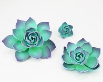 Purple Gum Paste Succulents - succulents cake toppers