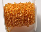 28 gauge Gold Filled 4MM Mandarin Garnet Spessartite Gemstone Chain 18 INCH
