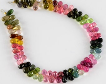 Old Mine Brazil Tourmaline Faceted Full Teardrop Beads 8.1 inch strand