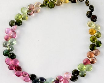 55.85CT Old Mine Brazil Tourmaline Faceted Heart Briolette Beads 9.2 inch strand