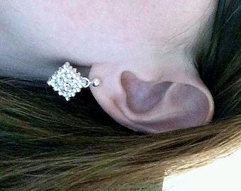Cubed Beadwoven Earrings,Handmade