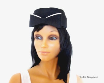 1940s Black Bow Hat, Vintage Pill Box Hat