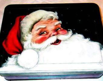 Santa Tin Stuffed with Vintage Christmas Supplies, DESTASH, Hanky, Ribbon,Vintage Holiday Card,Buttons