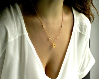 Gold Square Necklace Cz Sterling Silver Chain Gold Plated Modern Minimalist Bridesmaid Necklace