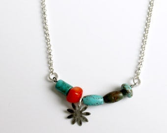 Healing Necklace Turquoise Coral Necklace Throat Chakra Necklace Sterling Silver Flower and Chain Handmade Metalwork