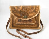 Vintage 50s Tooled Leather Purse