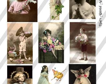 Digital Collage Sheet Easter Vintage Images  (Sheet no. O121) Ephemera-Instant Download