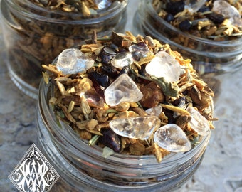 Shamans Crystal Incense Potion . Sacred Wood Smudging Incense Blend with Palo Santo, Sage, Herbs and Crystals, Clearing, Renewal