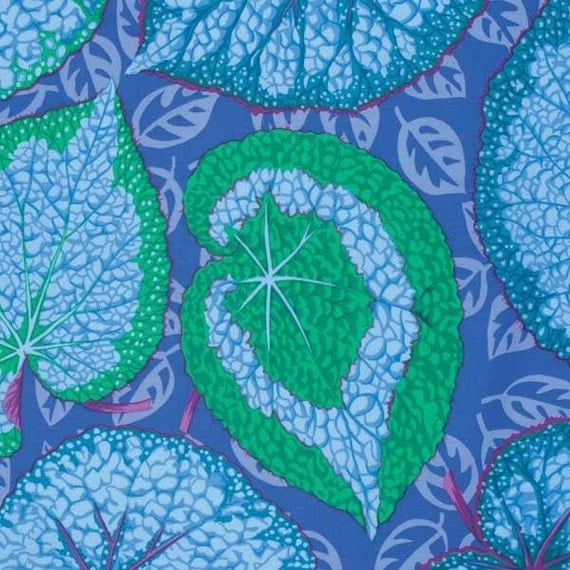 kaffe fassett big leaf blue phillip jacobs fabric 1 yard from lucyintheskyquilts on etsy studio. Black Bedroom Furniture Sets. Home Design Ideas