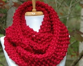 Cranberry Red Knit Scarf, Chunky Scarf, Hand Knit Infinity Scarf, Circle Scarf, Women Scarves, Winter Scarf, Knitted Neckwarmer, Wool Scarf