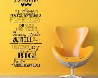 Awesome Family Rules Wall Decals - Vinyl Text Wall Words Sticker Art