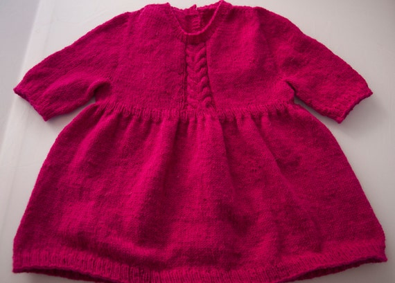 Handknitted Cerise Tunic/Dress for 18 month old