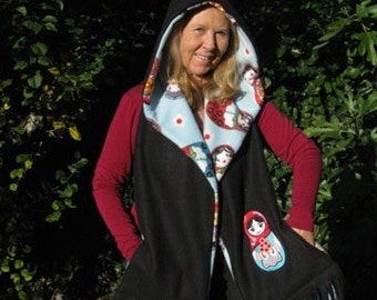 Russian Doll Matryoshka - Hooded Scarf with pockets