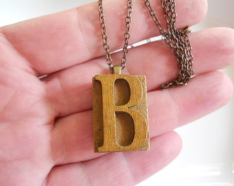 Vintage Style Letter B Press Initial Necklace Wood Block Initial B on Brass Chain Initial Letter Name Jewellry