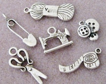Antique Silver Sewing Charms 6pc Set Notion Buttons Sewing Machine Scissor 856