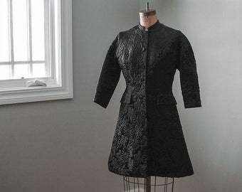 Black Evening Coat, Vintage Quilted Jacket, Mid Century Fashion, Women's Clothing, Jackets & Coats, 1960s