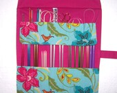 Knitting Needle Storage Organizer, Turquoise Floral Crochet Hook Case, Hot Pink Double Pointed Needle Holder, Artist Brushes Roll