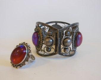50's ring bracelet set / Chunky Vintage 50's Mexican Sterling Jelly Opal Bracelet Ring Set