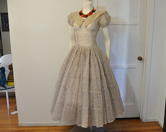50s dress / Atomic Afternoon Vintage 1950's Sheer Full Skirt Dress