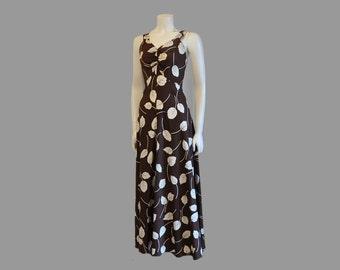 1930s dress / Delightful Leaf Print 30's Vintage Bias Long Dress