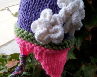 Sale-Ready to Ship-purple, moss green, and hot pink  earlap hat-17 inches- 6 to 12 month